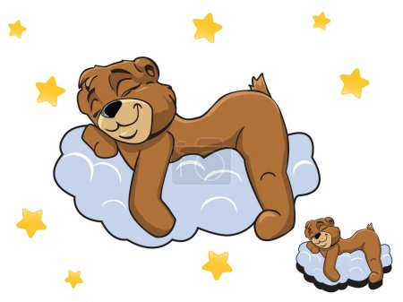 Illustration for Vector cartoon color cute Teddy bear sleeping on a cloud, and the stars around - Royalty Free Image
