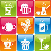 Set of drinks and food icons: cocktail beer coffee tea grapes cup cake candy sweets mojitos margaritas