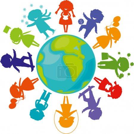 Illustration pour Silhouettes des enfants mignons dans le monde entier. planète terre avec des silhouettes de couleur enfants. - image libre de droit