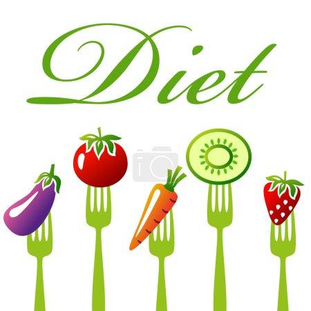 Illustration pour Une nourriture saine. Concept de régime, collation de légumes et de fruits. Illustration vectorielle - image libre de droit
