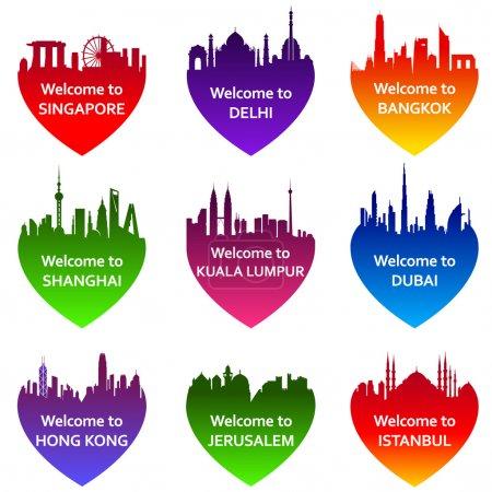 Photo pour Ensemble de neuf villes skylines en forme de cœur. Illustration vectorielle. Bienvenue à Bangkok, Kuala Lumpur, Singapour, New Delhi, Dubaï, Shanghai, Jérusalem, Istanbul, Hong Kong - image libre de droit