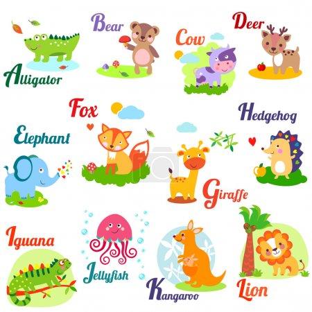 Photo pour Alphabet animal mignon pour ABC livre. Illustration vectorielle d'animaux de dessin animé. A, b, c, d, e, f, g, h, i, j, k, l - image libre de droit
