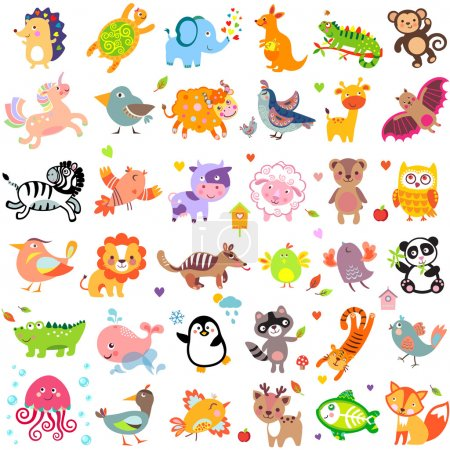 Illustration for Vector illustration of cute animals and birds: Yak, quail, giraffe, vampire bat, cow, sheep, bear, owl, raccoon, hedgehog, whale, panda, lion, deer, x-ray fish, fox, dove, crow, chicken, duck, quail, crocodile, tiger, turtle, kangaroo, elephant, monk - Royalty Free Image