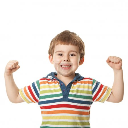 Photo for Cheerful smiling little boy raised his hands up. Isolated on white background. shooting in the studio - Royalty Free Image
