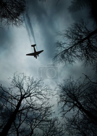 Photo for World War II era fighter plane in flight between trees - Royalty Free Image