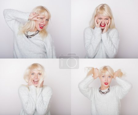 Beautiful young girl face expressions