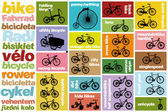 Background with silhouettes of all types of bicyces