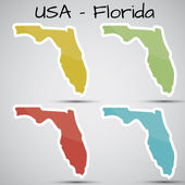Shiny vector stickers in form of Florida state USA