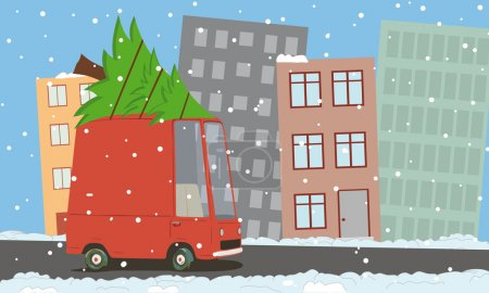 Illustration for Vector illustration of a cartoon van in the city - Royalty Free Image