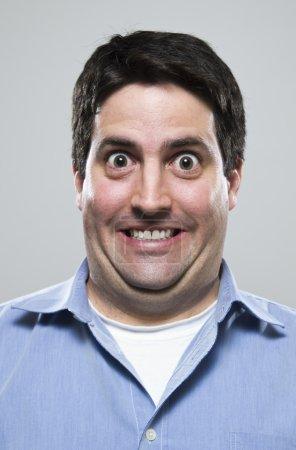 Photo pour Le visage d'un homme très excité. - image libre de droit