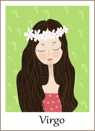 Zodiac signs Virgo. Vector illustration of the girl.