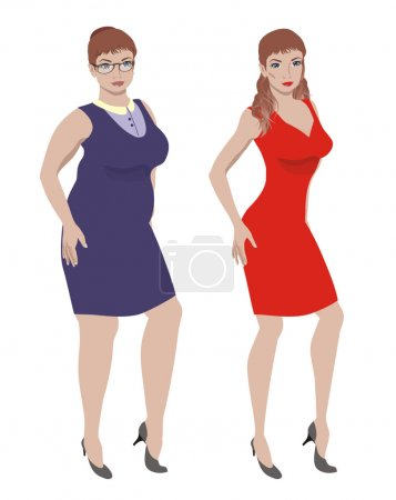 Illustration for Full young woman and a young slim woman - Royalty Free Image