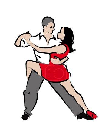 Man and woman dancing tango. stylized illustration