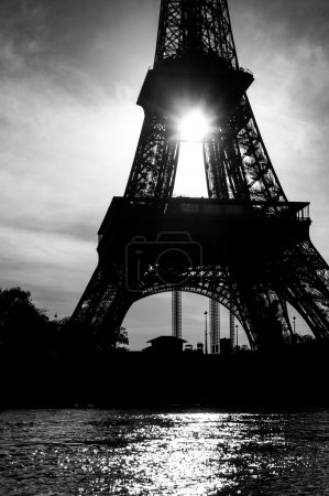 Photo for Eiffel tower in the sunset, black and white - Royalty Free Image