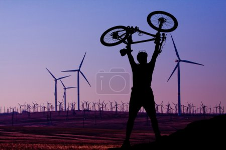 Wind turbine and a man