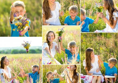 Mother with son having fun outdoors in summer