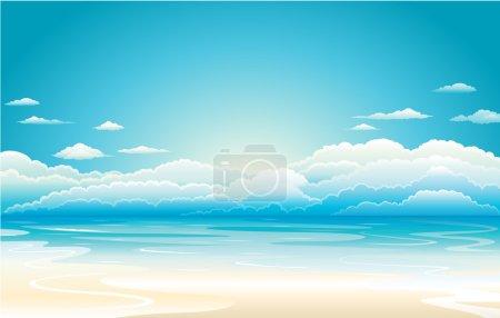 Illustration pour Coucher de soleil ciel, illustration vectorielle de l'eau - image libre de droit