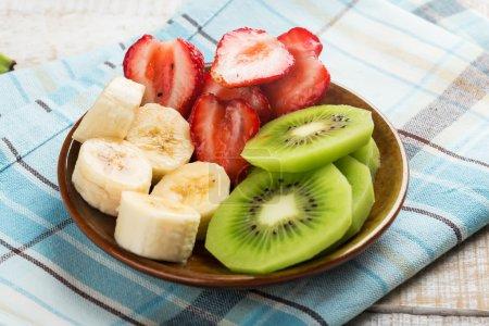 Fresh strawberry, banana, kiwi