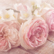Postcard with fresh pastel flowers - roses and jas...