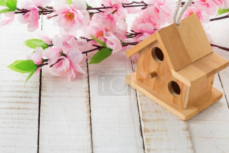 Little bird house and spring flowers