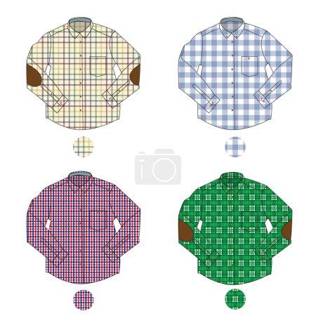 Illustration of men's check shirts