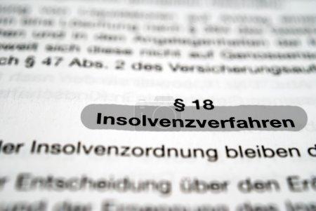 Photo pour Procédure d'insolvabilité texte - image libre de droit