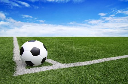 Soccer football field stadium grass line blue sky Background