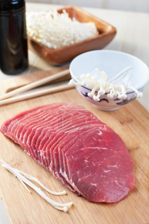 Photo for Thin sliced beef for asian grill - Royalty Free Image