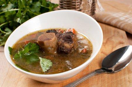 deftige Suppe mit Ochsenschwanz mit Knochen