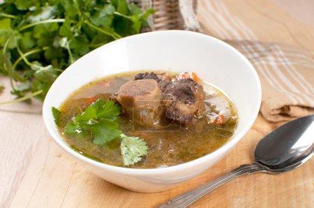 Suppe mit Fleisch und Knochen und Petersilie