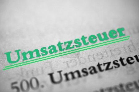 """Photo pour """"Umsatzsteuer """"est le mot allemand pour taxe de vente . - image libre de droit"""