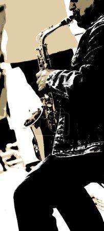 Photo pour Un homme joue dans la rue un saxophon. - image libre de droit