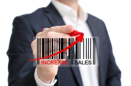 Photo pour Augmenter les ventes concept moderne avec code à barres - image libre de droit