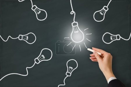 Photo for Idea light bulb word sketched on a white board - Royalty Free Image
