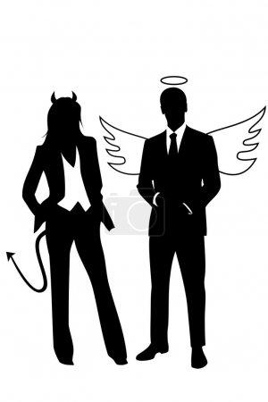 Illustration pour Illustration de la notion sur l'éthique de l'entreprise représentée par un homme d'affaires d'ange et une femme d'affaires de diable - image libre de droit