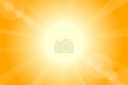 Illustration for Summer hot vector sun with lens flare - Royalty Free Image