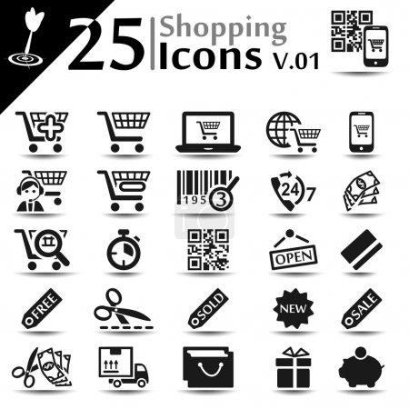 Illustration pour Ensemble d'icônes shopping, série de base - image libre de droit
