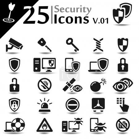 Illustration pour Ensemble d'icônes de sécurité, série de base - image libre de droit