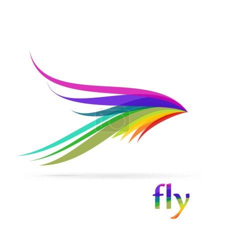 Ilustración de Logo de aves volando aislado sobre fondo blanco - Imagen libre de derechos