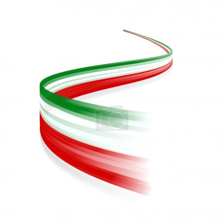 Abstract Italian waving flag isolated on white bac...