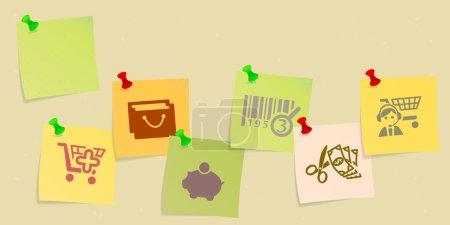 Illustration pour Ensemble d'icônes shopping esquissé sur le post son - image libre de droit