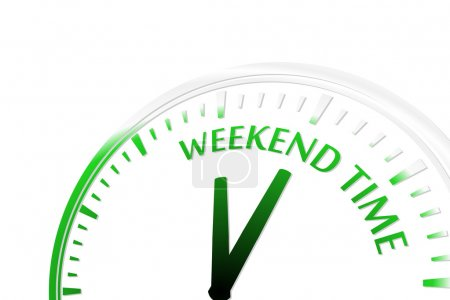 Illustration for Weekend time clock vector illustration - Royalty Free Image