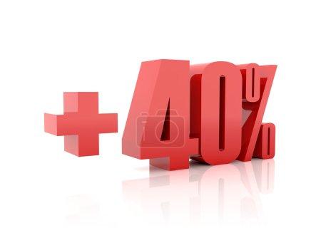 Plus 40 percent. Concept 3D illustration.