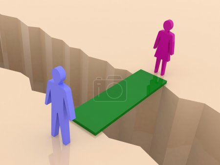 Man and woman split on sides, bridge through separation crack. Concept 3D illustration.