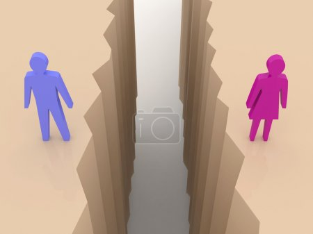 Man and woman split on sides, separation crack. Concept 3D illustration.