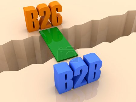 Two words B2C and B2B united by bridge through separation crack. Concept 3D illustration.