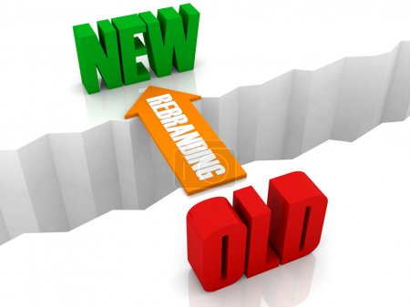 Rebranding is the bridge from OLD to NEW. Concept 3D illustration.