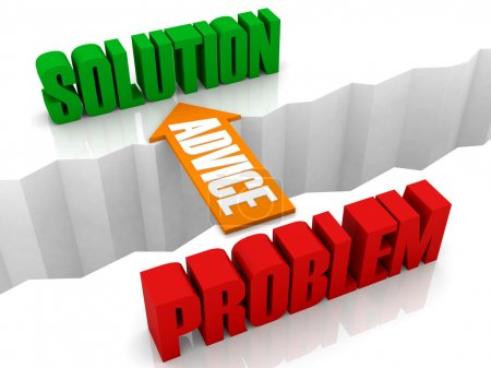 Advice is the bridge from PROBLEM to SOLUTION. Concept 3D illustration.