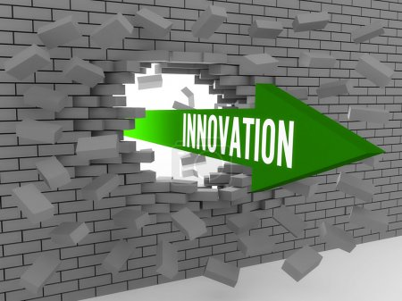 Arrow with word Innovation breaking brick wall. Concept 3D illustration.