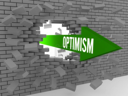Photo for Arrow with word Optimism breaking brick wall. Concept 3D illustration. - Royalty Free Image